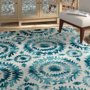 Top Reviews Lucy Hand-Hooked Teal/White Area Rug By Bungalow Rose