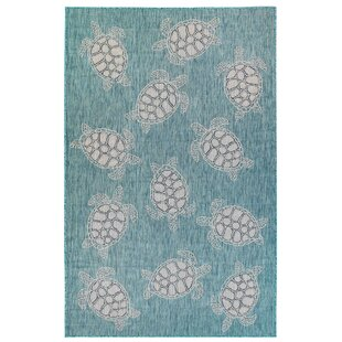 Desantiago Seaturtles Aqua/White Indoor/Outdoor Area Rug