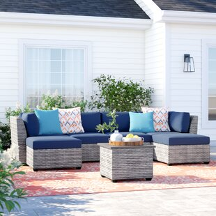 Order Kenwick 7 Piece Rattan Sectional Seating Group with Cushions Good price