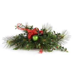 Artificial Holiday Centerpiece with Bow in Low Tray