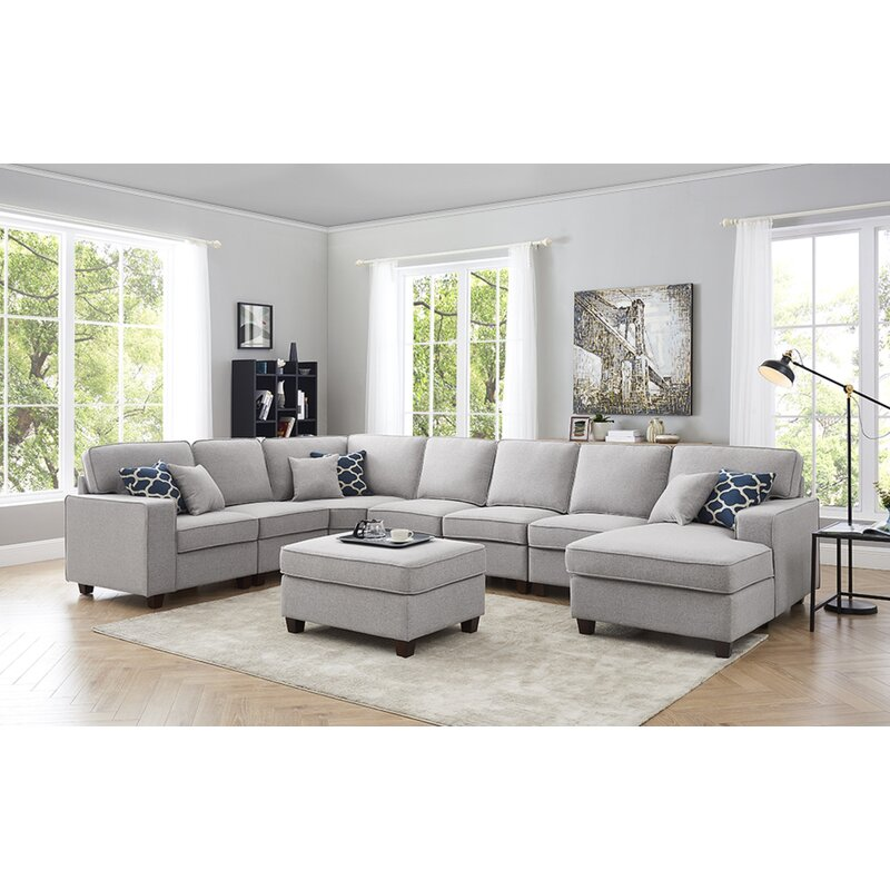 "Littleness 149.5"" Left Hand Facing Modular Corner Sectional with Ottoman"