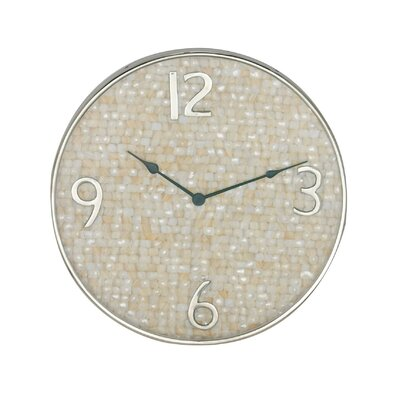 Bungalow Rose Mentasta Cottage Round Shell-Inlaid 18 Wall Clock
