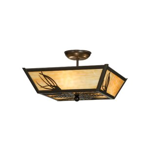 Meyda Tiffany Mountain Pine 3-Light Semi-Flush Mount