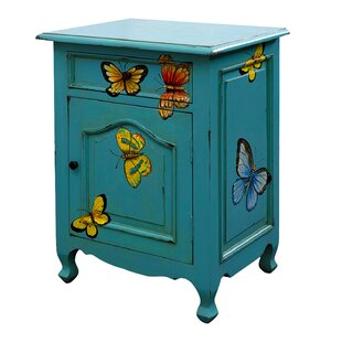 NES Furniture Butterfly 1 Drawer Nightstand