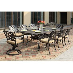 Campton Contemporary 9 Piece Metal Frame Dining Set with Cushion