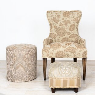 Maeve French Country Floral Wingback Chair and Ottoman
