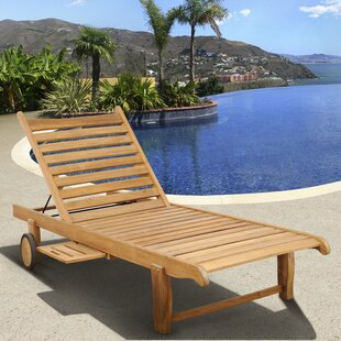 Elsmere Reclining Teak Chaise Lounge by Beachcrest Home