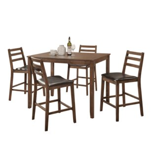 Kinnison 5 Piece Counter Height Solid Wood Dining Set by Red Barrel Studio