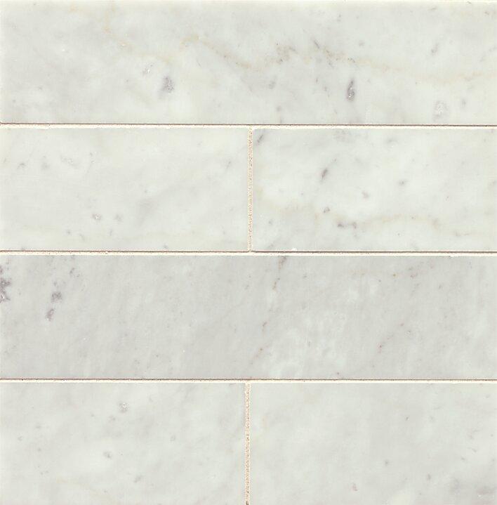 3 X 12 Honed Marble Field Tile In White Carrara