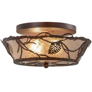 Meyda Tiffany Greenbriar Oak 2-Light Semi-Flush Mount