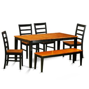 Pillar Traditional 6 Piece Dining Set with Rectangular Table Top August Grove