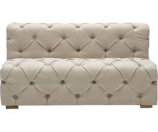 Pratt Tufted Twill Armless Loveseat by Rosdorf Park