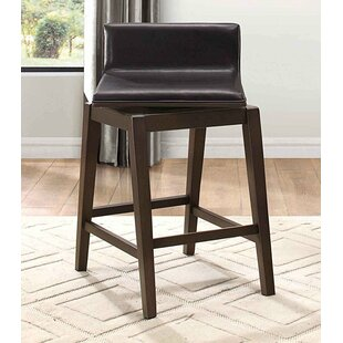 Lola Wood/Leather Swivel Bar Stool (Set Of 2) Great price