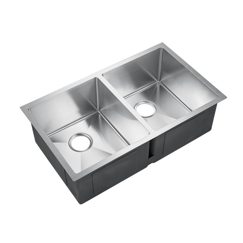 KSSDB2542-SS Geraldine Deep 32  x 19  Double Basin Undermount Kitchen Sink  sc 1 st  Wayfair & Barclay Geraldine Deep 32