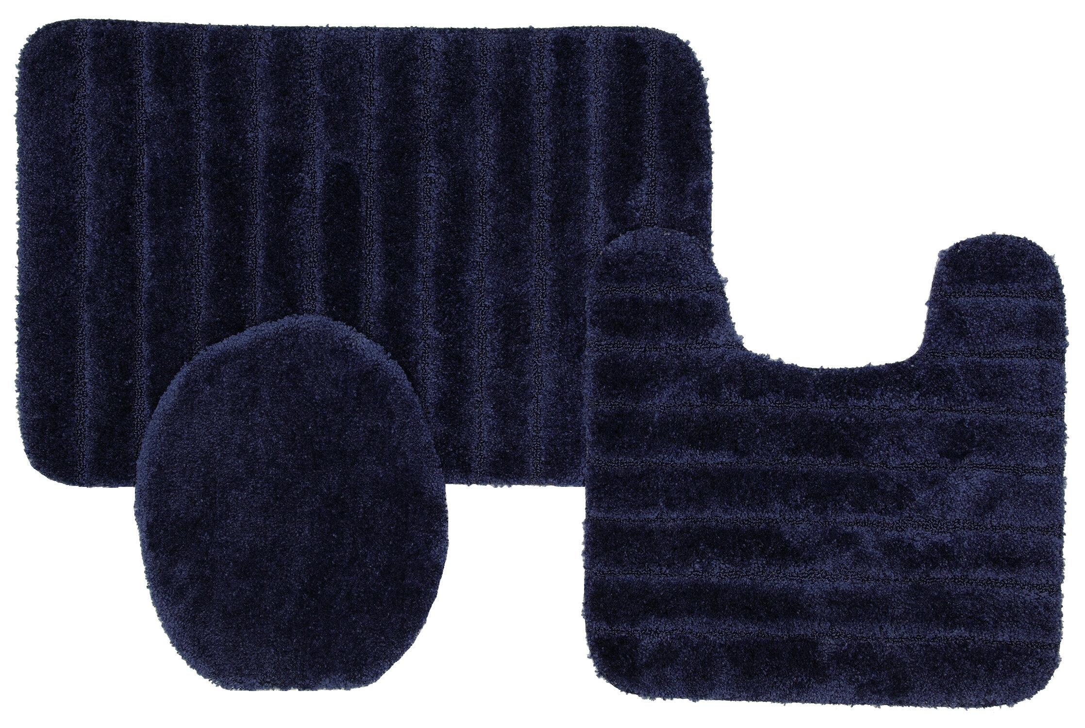 Nylon Non Slip Solid Bath Rug Set
