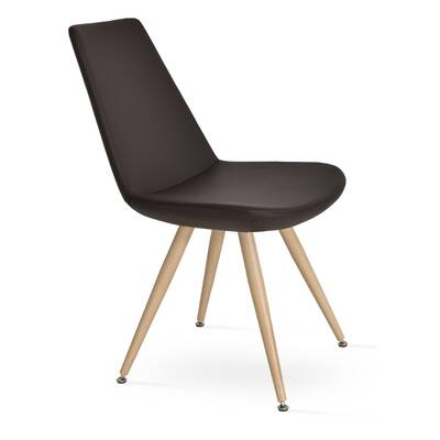 Eiffel Star Genuine Leather Upholstered Dining Chair In Brown Leatherette