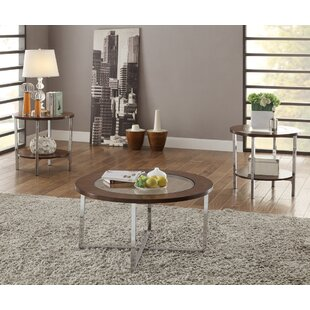 Shrewsbury 3 Piece Coffee Table Set with X Metal Frame
