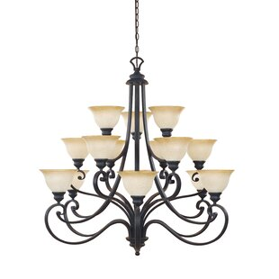 Fleur De Lis Living Earline 15-Light Shaded Chandelier