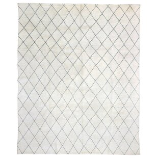 Coupon One-of-a-Kind Courts Hand-Woven Wool Cream/Black Area Rug By Isabelline