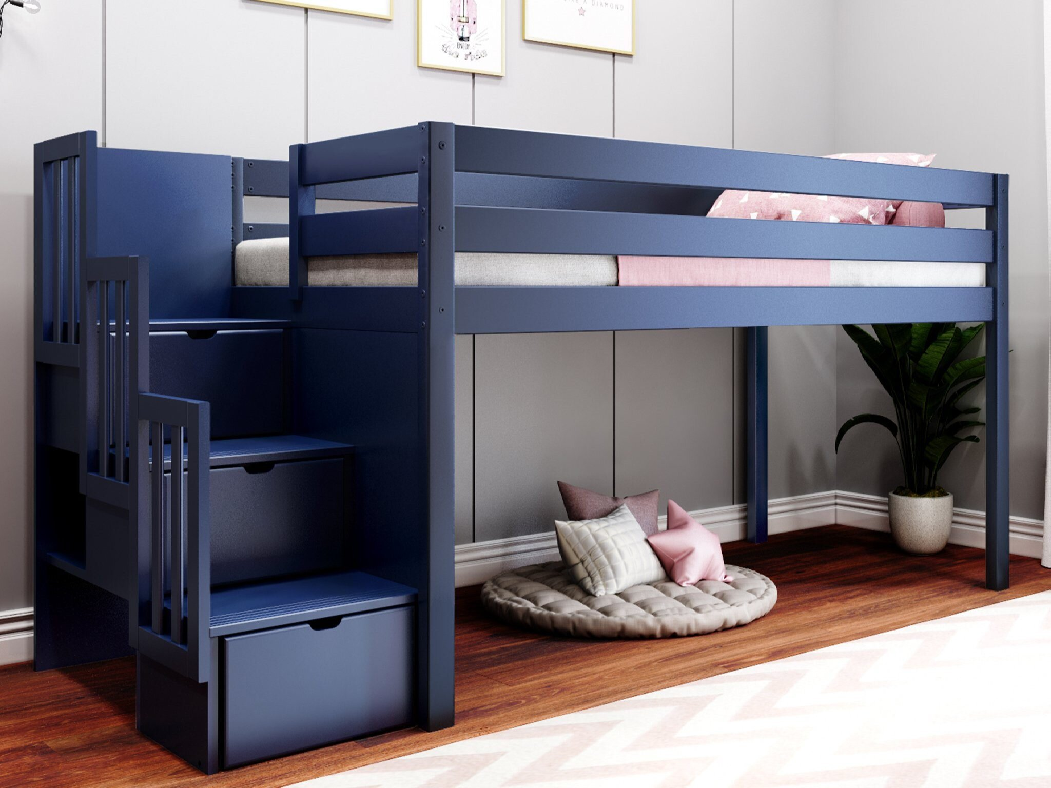 Harriet Bee Kayser Contemporary Stairway Twin Low Loft Bed With 3 Drawers Reviews Wayfair
