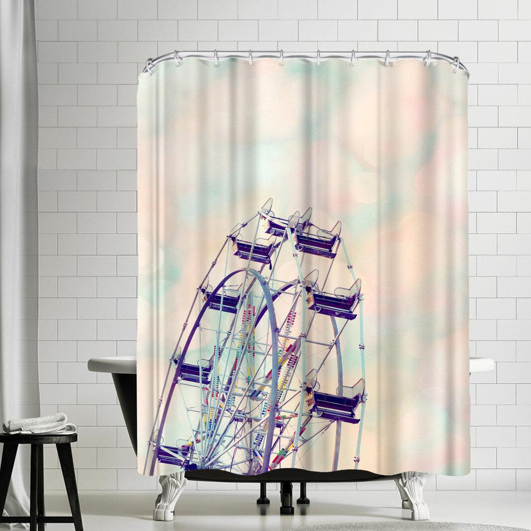East Urban Home The Gingham Owl Rainbow Sherbet Sky Shower Curtain Wayfair