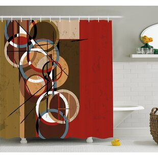 Retro Surreal Abstract Circular and Square Shaped Art Lines on Murky Base Shower Curtain Set By Ambesonne