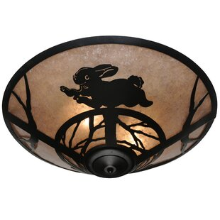 Meyda Tiffany Rabbit on the Loose 3-Light Flush Mount