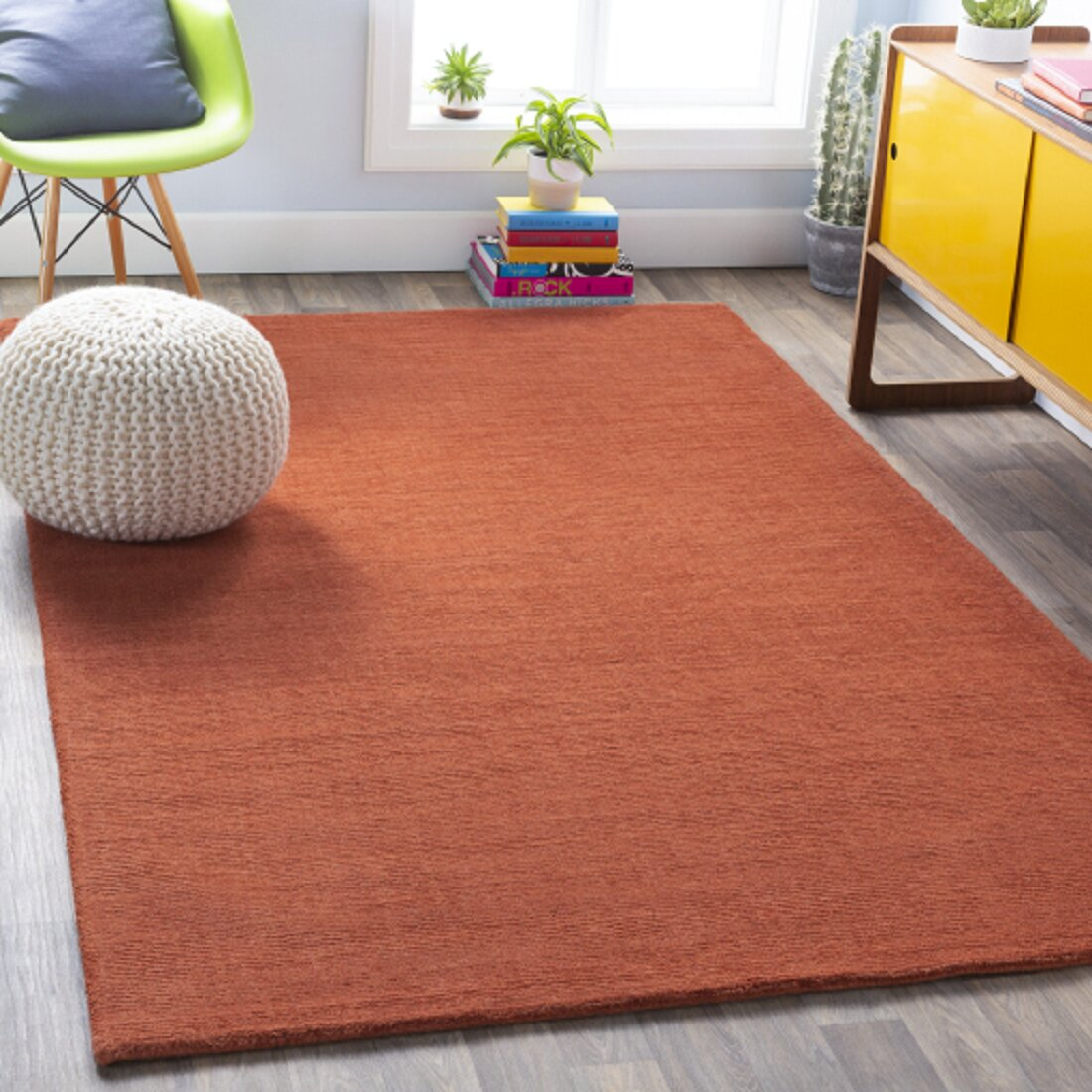 Allmodern Brunson Handmade Wool Burnt Orange Area Rug Reviews Wayfair