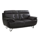 Clarence 75 Wide Leather Match Pillow Top Arm Loveseat by Orren Ellis
