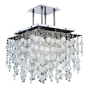 Glow Lighting Cityscape Capiz Shell 5-Light Novelty Chandelier