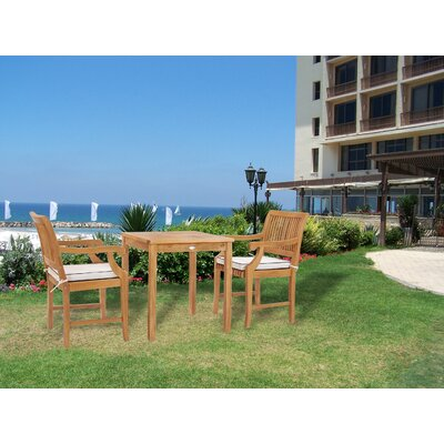 Dayne 3 Teak Bistro Set With Sunbrella Cushions by Bay Isle Home Read Reviews