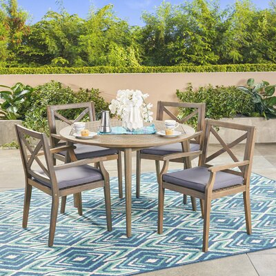 Hagues Outdoor Acacia Wood 5 Piece Dining Set with Cushions Color: Gray, Cushion Color: Gray by Charlton Home