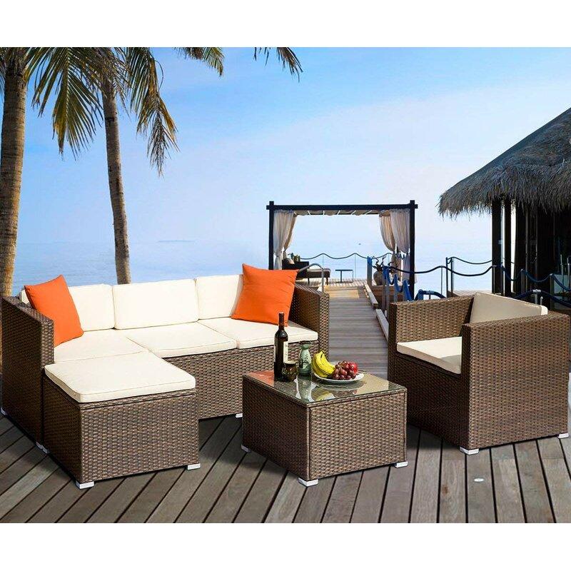 Latitude Run Ambroziu 4 Piece Rattan Sectional Seating Group With Cushions Wayfair