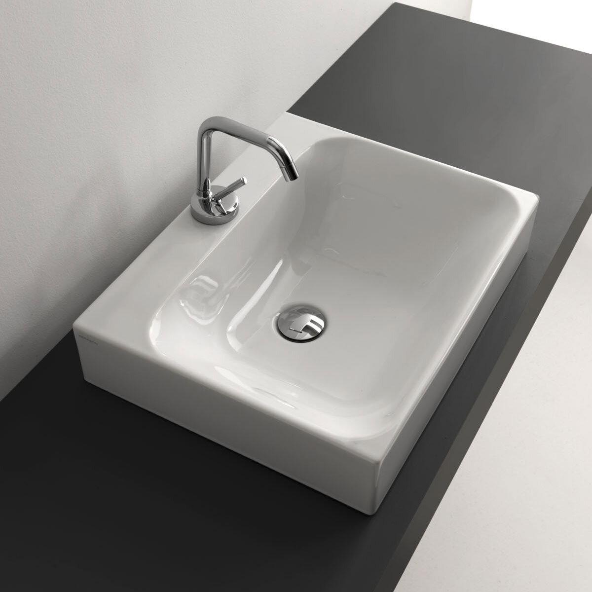Ws Bath Collections Cento Ceramic Ceramic Rectangular Vessel Bathroom Sink With Faucet Wayfair