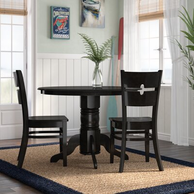 Langwater 3 Piece Wood Bistro Set Beachcrest Home Color: Black