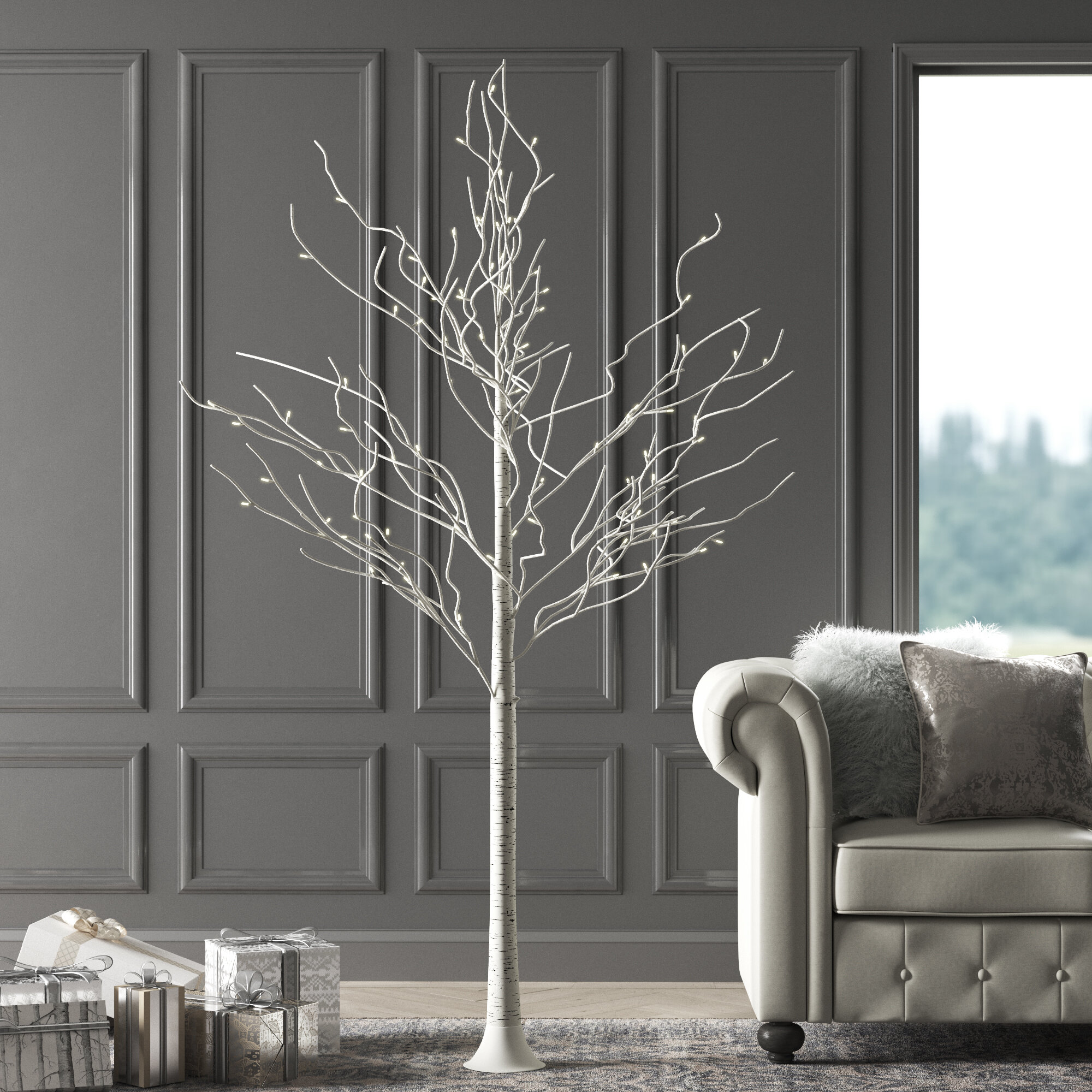 Greyleigh Pre Lit Birch Tree 132 Light Led Lighted Trees Branches Reviews Wayfair