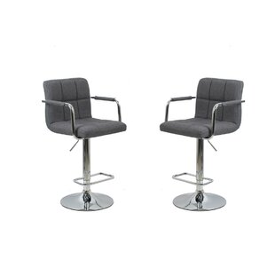 Aronson Adjustable Height Swivel Bar Stool (Set of 2) by Orren Ellis