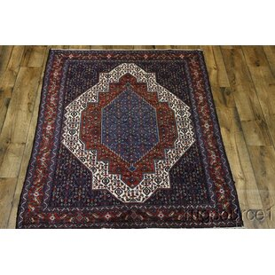 One-of-a-Kind Lally Senneh Classical Persian Hand-Knotted 4'8 x 6'11 Wool Red/Beige/Blue Area Rug ByIsabelline