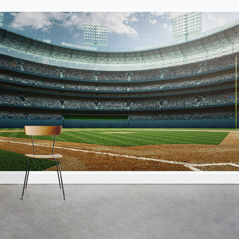 Wallums Wall Decor Baseball Stadium 8 X 144 3 Piece Mural Wayfair