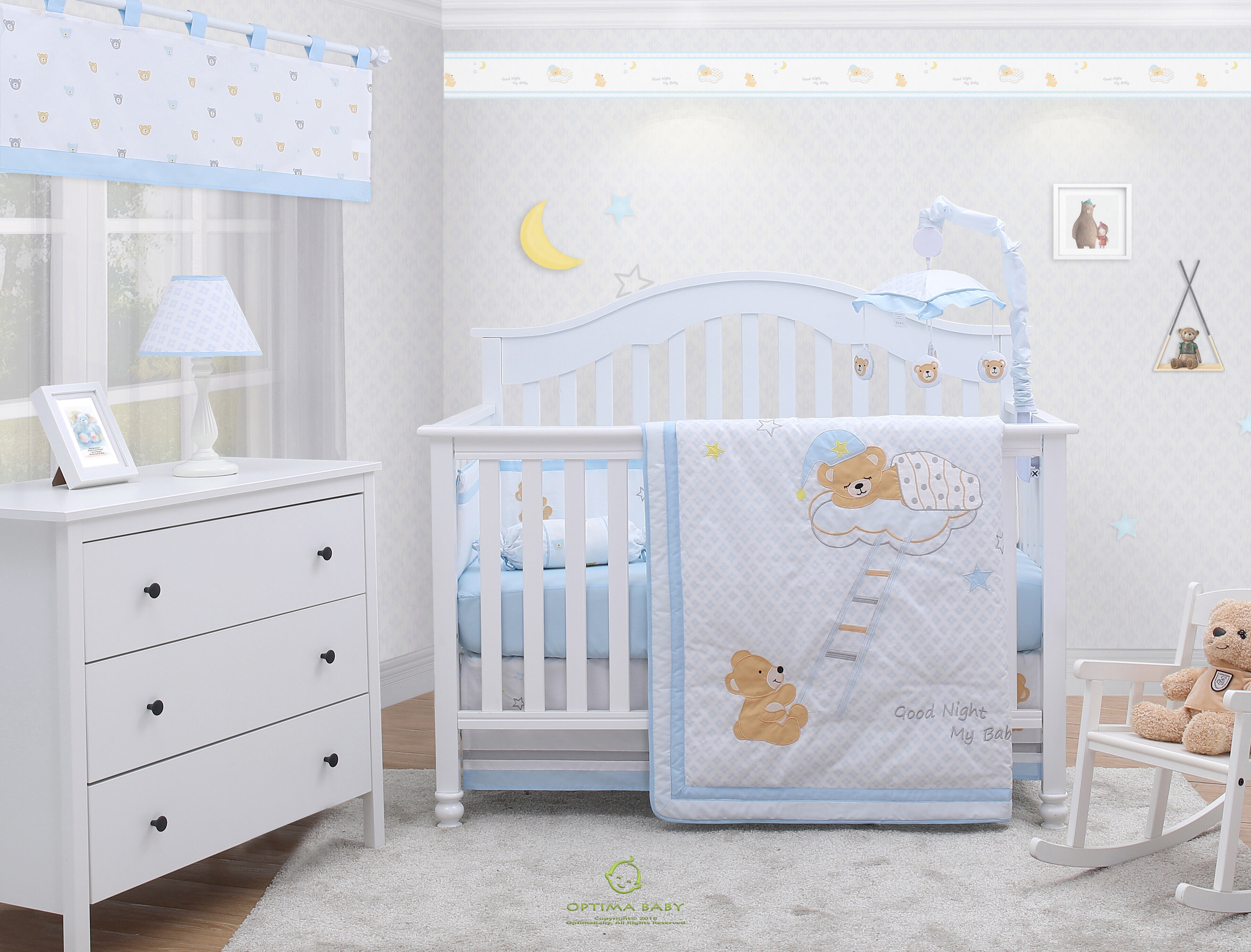 3 designs available 4 pcs Snuggle Baby Baby Cot Quilt and Bumper Set