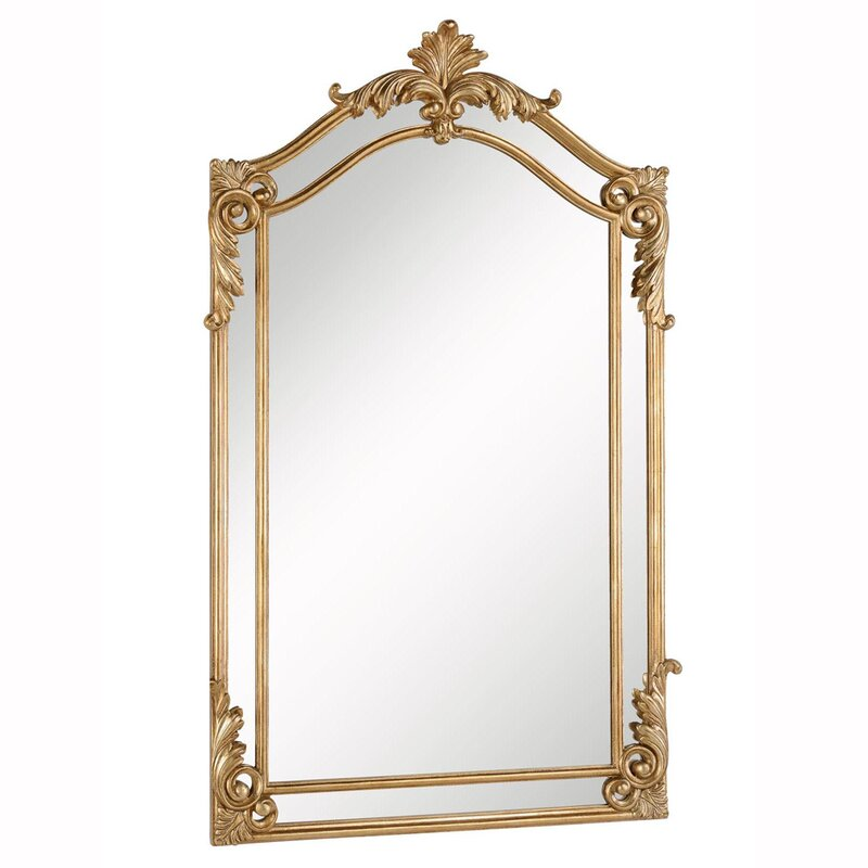 Traditional Gold Arch/Crowned Top Wood Wall Mirror