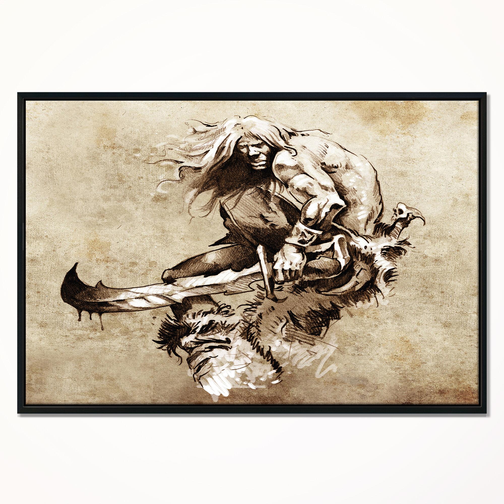 East Urban Home Warrior Fighting Tattoo Art Framed Print On Wrapped Canvas Wayfair