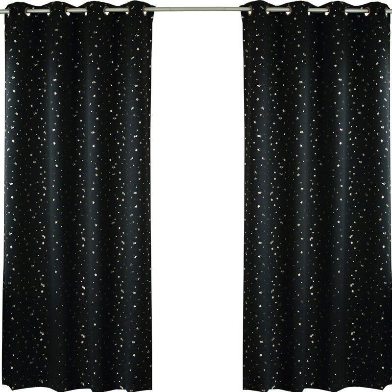 Geometric Blackout Thermal Grommet Curtain Panels Set Of 2