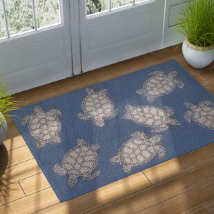 Clatterbuck Seaturtle Navy/Beige Indoor/Outdoor Area Rug