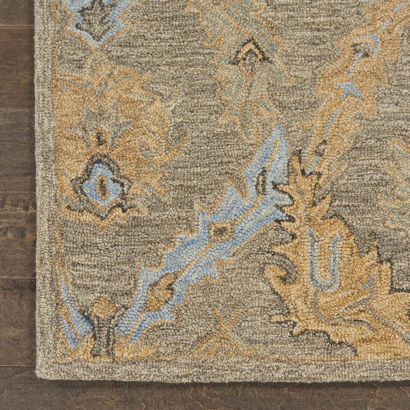 Alcott Hill Minton Floral Hand Hooked Wool Taupe Blue Rug Wayfair