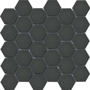 Urban 2 X Porcelain Mosaic Tile In Charcoal Black Hexagon