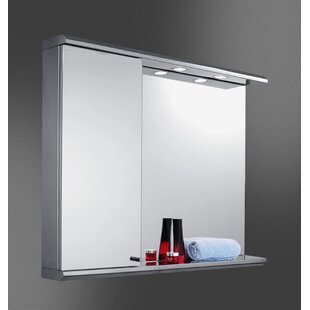 Jimena Edge Mirror Door 28 x 35 Recessed Frameless Medicine Cabinet with 2 Adjustable Shelves and LED Lighting By Orren Ellis