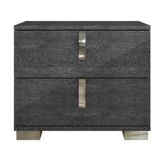 Felix Wooden 2 Drawer Nightstand by Foundry Select