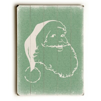 The Holiday Aisle Santa Stencil on Green Wooden Wall Décor