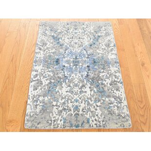 Affordable One-of-a-Kind Brode Hand-Knotted 2' x 3' Wool/Silk Gray/White Area Rug By Isabelline
